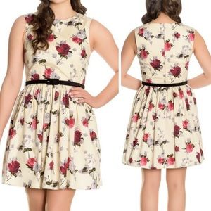 Hell Bunny • Cream Cecily Red Rose Floral Dress M